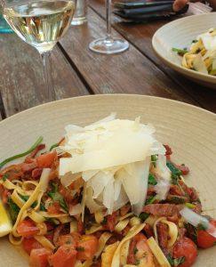 Prawn pasta and Semillon